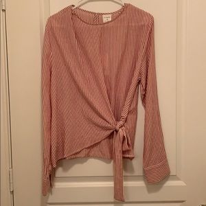 By Together! Large Striped Tie Blouse!